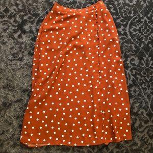 Button Front Polka Dot A-Line Maxi Skirt